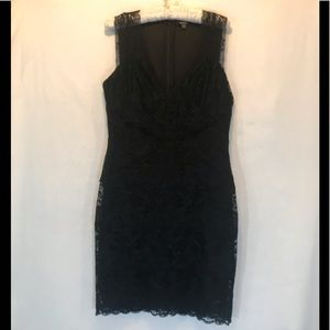 NWT Guess Black Noreen Lace Back Zip Midi Dress